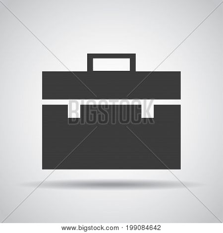 Portfolio icon with shadow on a gray background. Vector illustration