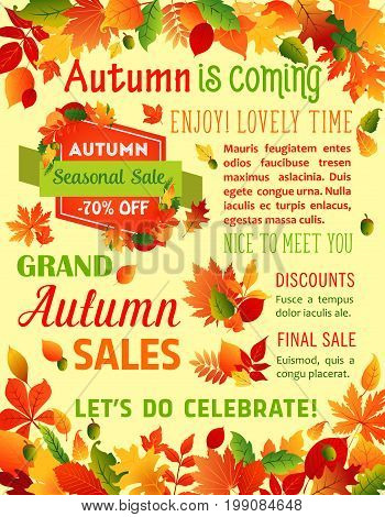 Autumn Sale and Fall is coming poster template for seasonal holiday sale or shopping 70 percent off discount promo. Vector design of falling leaves of maple, oak acorns or rowan and birch