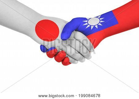 Handshake Between Japan And Taiwan