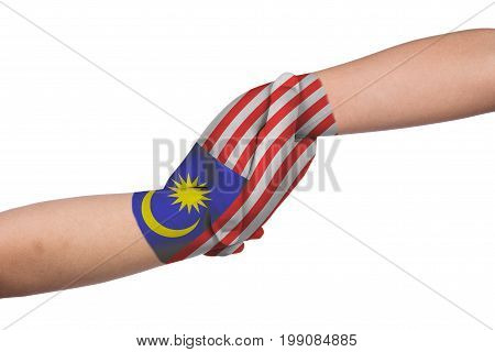 Helping Hands Of Two Children With Malaysia Flag Painted