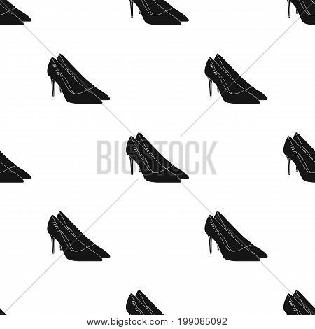 Women's leather shoes with heels. Casual shoes for women dress.  Woman clothes single icon in black style vector symbol stock web illustration.
