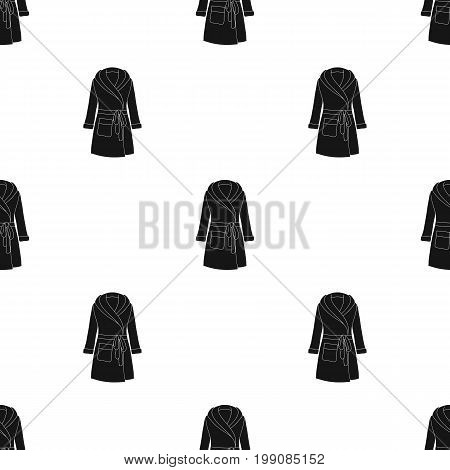 Green lady's gown after bath. Home clothes for women. Woman clothes single icon in black style vector symbol stock web illustration.