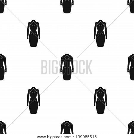 Strict two-color female dress to the knee. Dresses working style.Women clothing single icon in black style vector symbol stock web illustration.