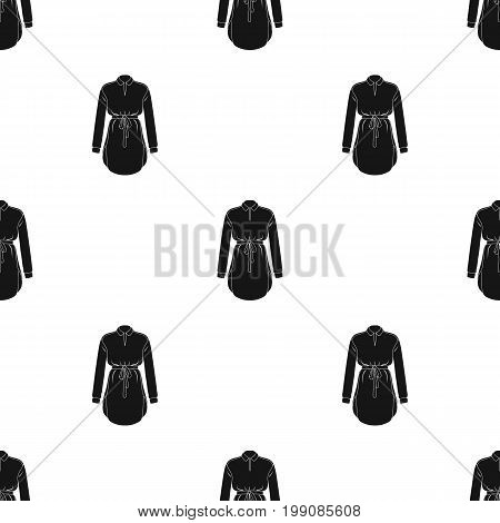Women's shirt with a belt for housework. A dirty white apron for women.Women clothing single icon in black style vector symbol stock web illustration.