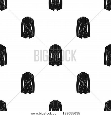 Grey Women's jacket with pockets. Work austere style.Women clothing single icon in black style vector symbol stock web illustration.