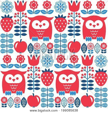 Scandinavian seamless cute pattern with owl and flower, inspired by Swedish and Finnish folk art, Nordic style