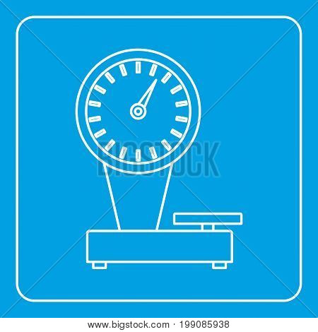 Weight scale icon blue outline style isolated vector illustration. Thin line sign