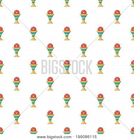 Church goblet glyph pattern in cartoon style. Seamless pattern vector illustration