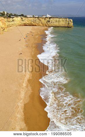 Senhora da Rocha Nova Beach Algarve Portugal - September 27 2014 : Tourists on Senhora Da Rocha Nova Beach in Portugal