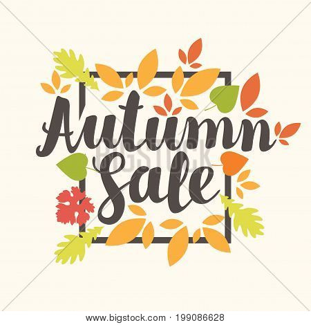 Vector banner with the inscription Autumn sale. Can be used for flyers banners or posters. Vector illustration with colorful autumn leaves