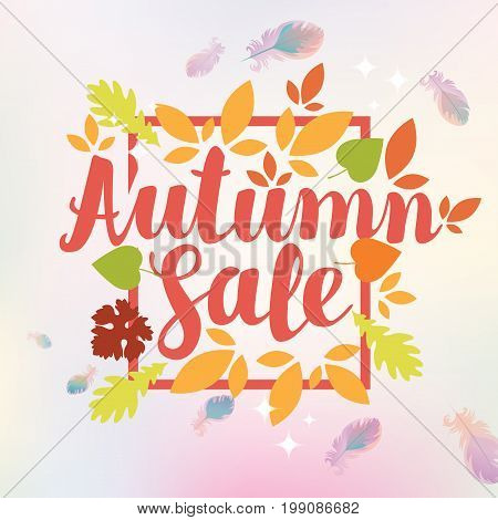 Vector banner with the inscription Autumn sale. Can be used for flyers banners or posters. Vector illustration with colorful autumn leaves and feathers