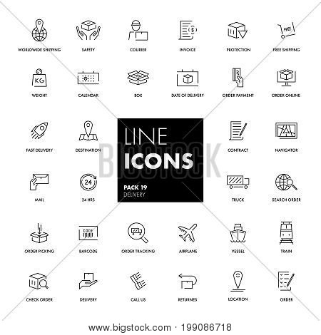 Line icons set. Delivery pack. Vector illustration.