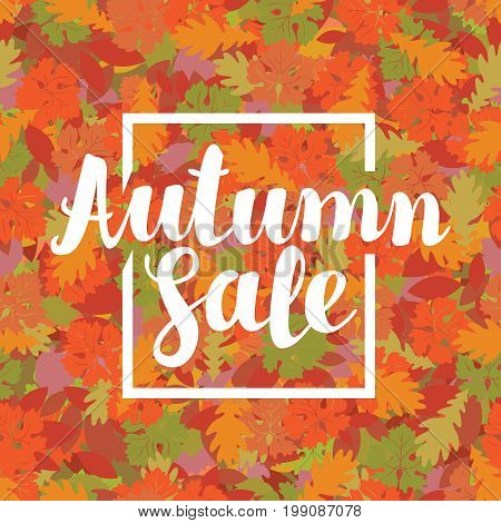 Vector illustration with the inscription Autumn sale on the background of seamless texture of colored autumn leaves. Can be used for flyers banners or posters.