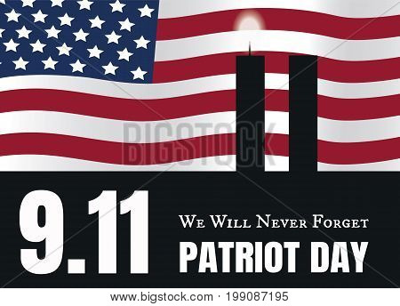9.11 Patriot Day American Flag stripes background with twin towers candles . Patriot Day September 11, 2001 Poster Template, we will never forget, Vector illustration Patriot Day