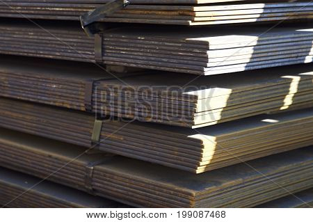 Sheet metal is in bundles in the warehouse Russia