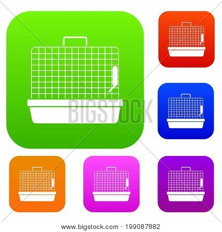 Cage for birds set icon in different colors isolated vector illustration. Premium collection
