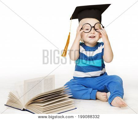 Baby Read Book Smart Kid Boy in Glasses and Mortarboard Graduation Hat Early Children Education