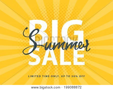 Big Summer Sale Sign With Retro Pop Art Halftone Background. Vector Web Banner Template Illustration