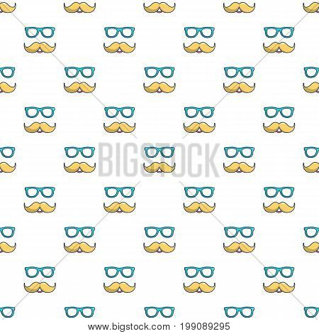 Nerd glasses and mustaches pattern in cartoon style. Seamless pattern vector illustration