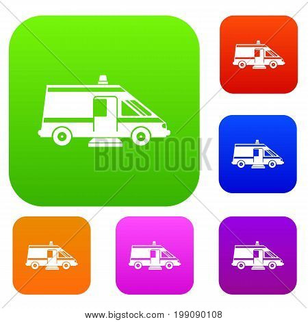 Ambulance set icon in different colors isolated vector illustration. Premium collection