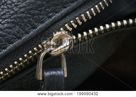 Black Leather Bag Close Up. Macro shot