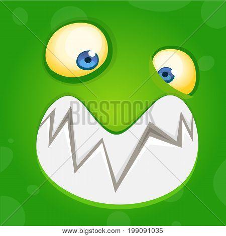 Cartoon monster face. Vector Halloween green happy cool monster avatar. Party mask