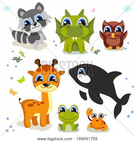 Set of cute animals isolated on white background. fauna of the world icon set. Vector illustration isolated on white
