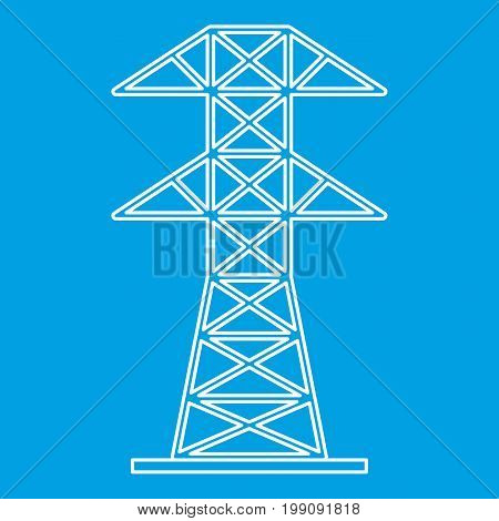 Electric tower icon blue outline style isolated vector illustration. Thin line sign