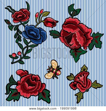 Embroidery floral patches with simplified roses and bee. Vector embroidered flowers elements for fashion design.