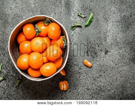 Ripe Tangerines In The Old Bucket.