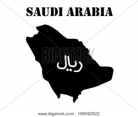 Black silhouette of the map and the white silhouette of the Isle of Saudi Arabia symbol