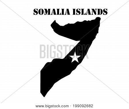 Black silhouette of the map and the white silhouette of the Isle of Somalia Islands symbol