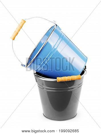Small decorative gray and blue buckets isolated on white background