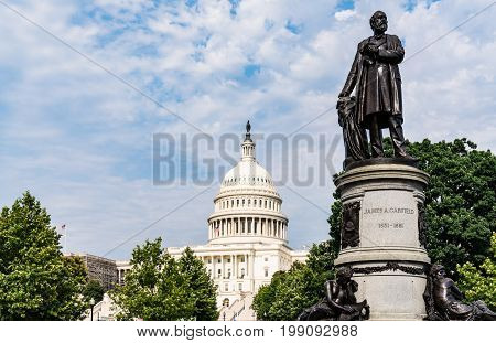 President James Garfield Monument with United States Capitol Building in Washington DC