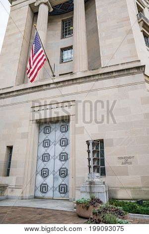 WASHINGTON DC - JULY 12: United States Department of Justice Building in Washington DC on July 12 2017