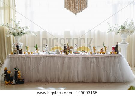 Wedding Table Of The Bride And Groom.