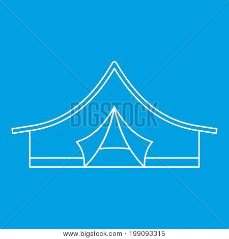 Camping tent icon blue outline style isolated vector illustration. Thin line sign