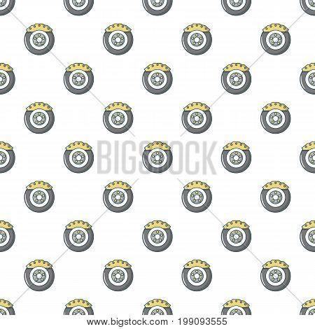 Car disk brake pattern in cartoon style. Seamless pattern vector illustration