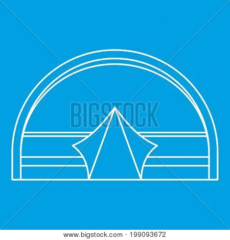 Large dome tent for camping icon blue outline style isolated vector illustration. Thin line sign