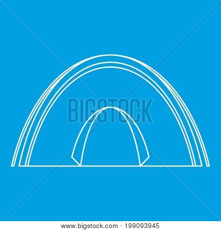 Dome tent icon blue outline style isolated vector illustration. Thin line sign