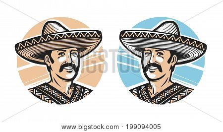Portrait of happy Mexican in sombrero, logo or label. Vector illustration isolated on white background