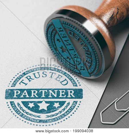 Trusted partner mark imprinted on a paper background with rubber stamp. Concept of trust in business and partnership. 3D illustration