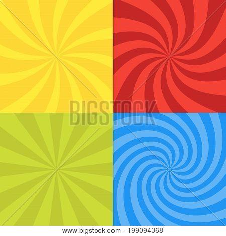 Vector Illustration For Swirl Design. Swirling Radial Pattern Background Set. Vortex Starburst Spira