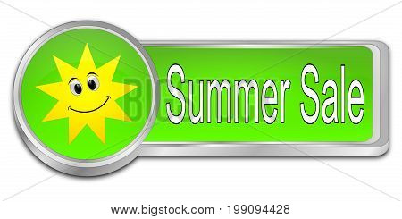 glossy green Summer Sale Button - 3D illustration