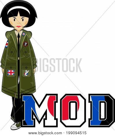 Cartoon Mod Girl in Parka Jacket Vector Illustration
