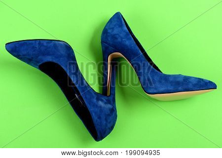 High Heel Footwear Isolated On Green Background. Elegance And Fashion