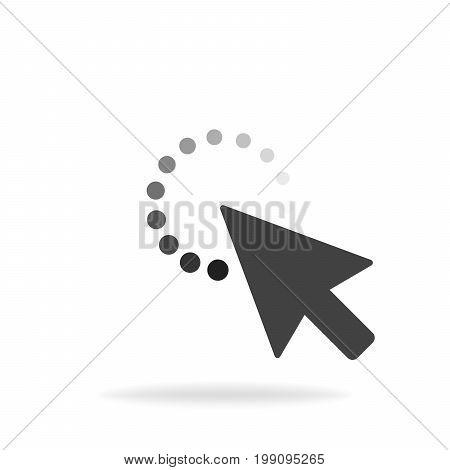 Computer Mouse Click Cursor Gray Arrow Icon. Vector Illustration