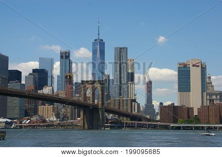 Brooklyn Bridge and Downtown Manhattan viewed from Brooklyn.
