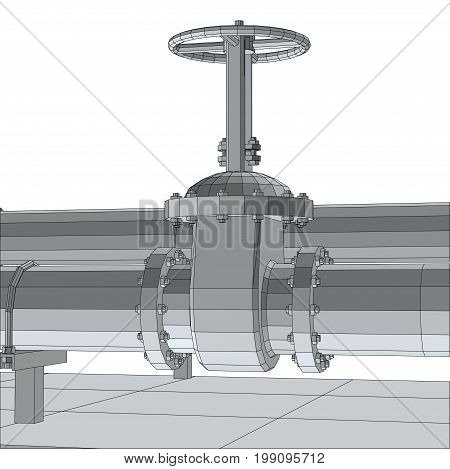 Industrial equipment valve. Wire-frame. EPS10 format. Vector rendering of 3d.