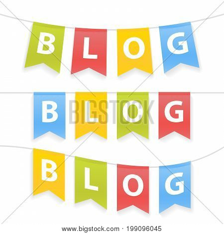Vector Illustration Of Blog Word On Pennants On Rope